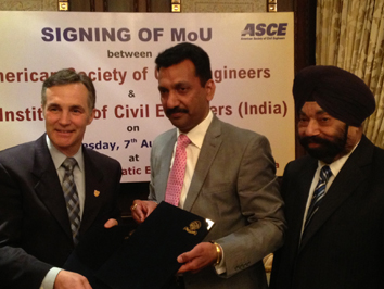 ASCE signs agreement of cooperation with Institute of Civil Engineers (Inidia).