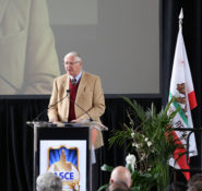 Michael Antonovich giving a speech at the podium