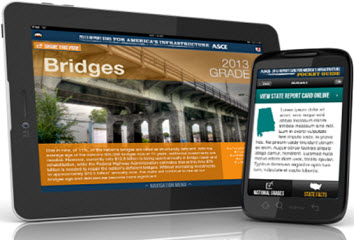 The new 2013 Report Card for America's Infrastructure is available to download for smartphones and tablets at iTunes, Google Play, and www.infrastructurereportcard.org.