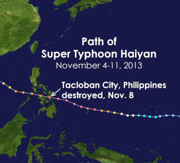 Typhoon Haiyan path map