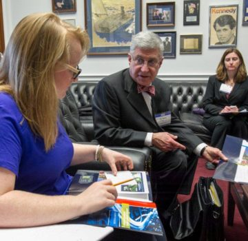 Andrew D. Cohn, P.E., M.ASCE, explains ASCE's 2013 Report Card for America's Infrastructure, to a legislative staff member in the office of Representative Steve Cohen [D-TN]. Photo Credit: David Hathcox