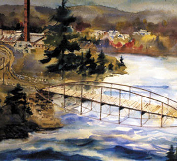 """The Sacandaga River Bridge"" painting by Tom Ryan (photo courtesy of Tom Ryan)"