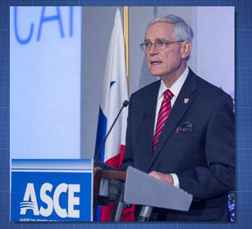 """Increasing public awareness of what civil engineers do is key to our ability to gain support for the work we need to do to protect the health, safety and welfare of the public,"" ASCE President Robert D. Stevens said in his inaugural address. Photo Credit: David Hathcox"