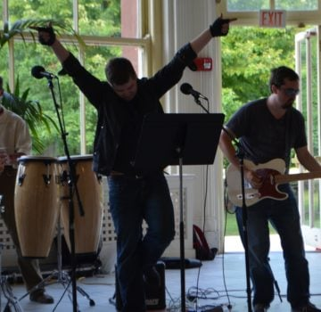 "Ken Maschke performs ""I Love Rock 'N Roll"" with the Thornton Tomasetti house band"