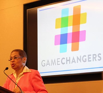 Congresswoman Eleanor Holmes Norton (D-DC) speaks at a program announcing the release of ASCE's Infrastructure #GameChangers.