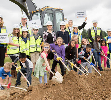 Project architects, community members and children join a ground-breaking for Beaverton's new resilient schools. PHOTO: Scott Johnson/Beaverton Project Manager-Facilities Development