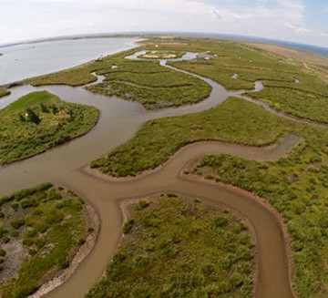 An overhead view of the award-winning Poplar Island restoration project.