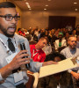 Asheque Rahman, A.M.ASCE, a Younger Member from New York, speaks at the ASCE 2015 Convention. Rahman is a member of the ASCE Committee on Pre-College Outreach, helping reach out to high school students interested in civil engineering.  PHOTO: David Hathcox for ASCE