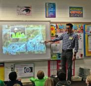 ASCE member James Wonneberg speaks with a fourth-grade class at Liberty Elementary School in Chantilly, VA.