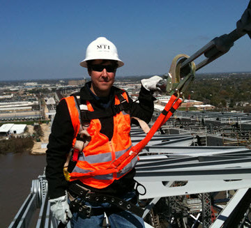 Chris Traylor checks out the top of the Huey P. Long  Superstructure. PHOTO: Traylor Bros.