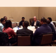 Civil engineers, future and present, talk during the Conversations with Civil Engineers program.