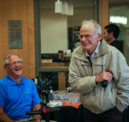 Ken Archibald walks into a surprise party in his honor at Oregon State. PHOTO: Johanna Carson