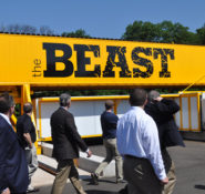 The winners in the ASCE Innovation Contest Innovative Business Models category visited the BEAST at Rutgers University.