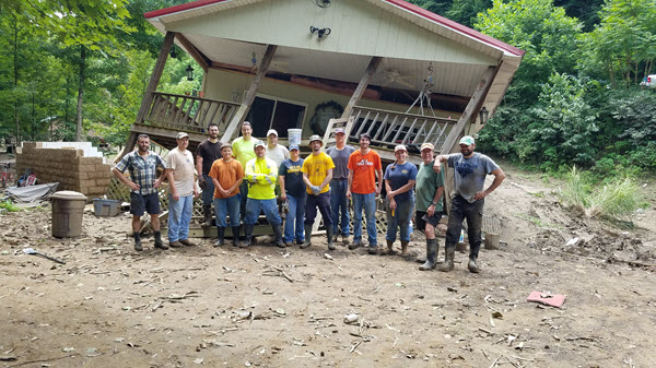 Members of the ASCE West Virginia Section helped lead a group of volunteers to assist in flood recovery work.