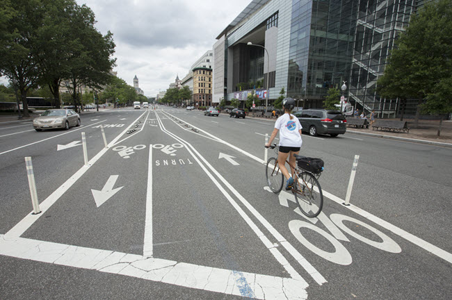 The Pennsylvania Avenue bike lanes are the first protected bike lanes in Washington D.C.