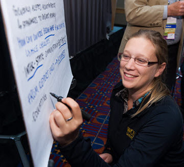 A session about the ASCE Grand Challenge at the 2016 Convention in Portland put attendees to work, brainstorming innovative solutions to infrastructure problems. PHOTO: Jim Tkatch for ASCE