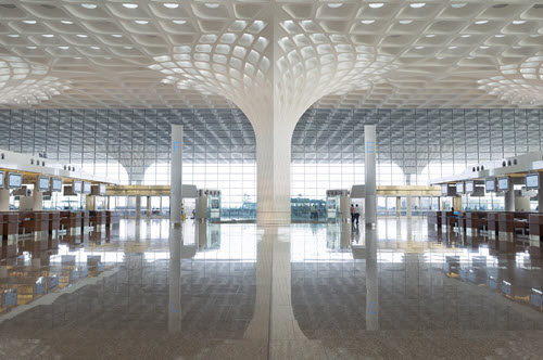 The Chhatrapati Shivaji International Airport, Terminal 2, in Mumbai, India. PHOTO: SOM/Robert Polidori © Mumbai International Airport Pvt. Ltd.