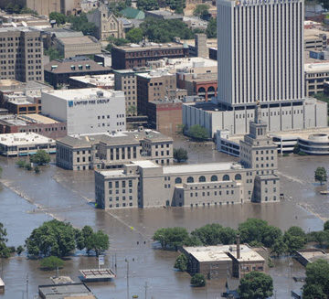 Downtown Cedar Rapids, IA, was besieged by flood waters in 2008. The city responded with a game-changing flood control system master plan. PHOTO: City of Cedar Rapids