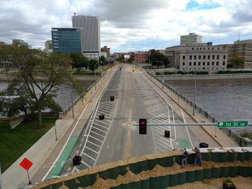 The successful use of temporary barriers during the September 2016 taught Cedar Rapids officials important lessons to fold into the city's flood control system. PHOTO: City of Cedar Rapids