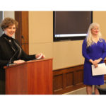 Rep. Susan Brooks (R-IN) speaks at an event on Capitol Hill to promote Introduce a Girl to Engineering Day, as ASCE President Norma Jean Mattei, the event's emcee, looks on.