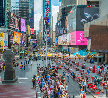 The Times Square Plaza has reimagined Times Square as a pedestrian - not a vehicle - hub. Courtesy NYCDDC