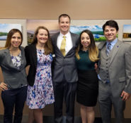 New Hampshire Section Board of Directors at the state report card release, from left: Vice President Marisa DiBiaso, Clerk Logan Johnson, President-Elect Matthew O'Brien, President Thalia Valkanos, and Treasurer Nicholas Golon. PHOTO: New Hampshire Section Younger Member Co-Chair Timothy Dunn