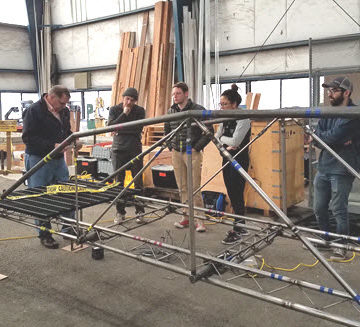 The Oregon State steel bridge team tests its span. PHOTO: Judy Liu