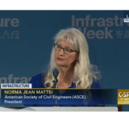 ASCE President Norma Jean Mattei spoke at the Infrastructure Week kickoff event, May 15, in Washington, DC.