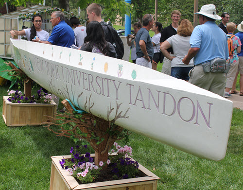 The NYU Tandon team incorporate real flowers into its display.