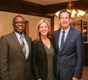 CSCE Past‐President Hudson Jackson, ASCE President‐Elect Kristina Swallow, and Connecticut Governor Dannel Malloy at the recent CSCE awards ceremony. PHOTO: William Cunningham