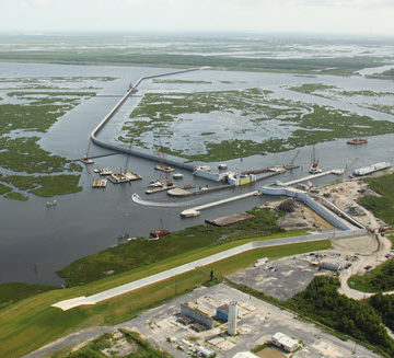 The Lake Borgne Surge Barrier. PHOTO: New Orleans U.S. Army Corps of Engineers