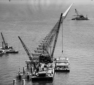 The first piles of the Lake Pontchartrain Causeway were driven on May 23, 1955. After 14 months of construction, the Causeway opened on Aug. 30, 1956, at a cost of $46 million.