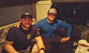 """These guys go to school in Fort Worth. One is a farmer taking business classes, and one is a paramedic taking nursing classes. They heard on the radio that boats were needed for rescues, decided school could wait, and packed their bags. They drove to the nearest edge of water and started rescuing. They've worked their way across the disaster zone saving lives. Today they were in Nome/Sour Lake (the highway between is underwater enough to run a boat down). Tomorrow they will be in Port Arthur. They planned to sleep in the cab of their truck again and wanted a place to park. We told them to sleep in our camper. They got here, got settled in a little, and ate deer chili. They refused the offer of a warm shower and tried to pay us for letting them stay here. They're risking their lives to save people and they tried to pay us. "" - Kate Osborn"