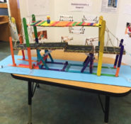Leo Titus Jr., P.E., M.ASCE, has been volunteering at Minnieland Academy Kindergarten, helping students with civil engineering projects like this one. PHOTO: Leo Titus Jr.
