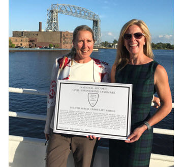 ASCE President-Elect Kristina Swallow helped honor the Duluth Aerial Ferry/Lift Bridge as an ASCE Historic Civil Engineering Landmark.