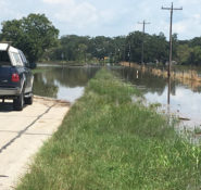 Several ASCE members assisted a GEER team, collecting data in the aftermath of Hurricane Harvey in Texas, including this part of the West Columbia Levee. PHOTO: Iman Shafii