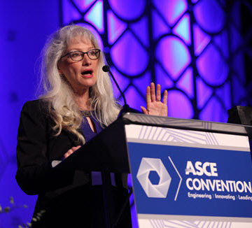 ASCE Norma Jean Mattei welcomes attendees to the ASCE 2017 Convention in her hometown of New Orleans. PHOTO: Jason Dixson Photography