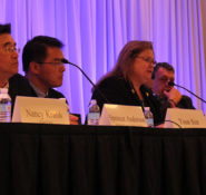 Carol Haddock speaks during a panel discussion about recent natural disasters at the 2017 ASCE International Conference on Sustainable Infrastructure.
