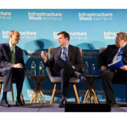 ASCE Executive Director Tom Smith, left, talks with author J.D. Vance and Little Rock Mayor Mark Stodola during a panel discussion at the Infrastructure Week DC Kickoff Event. PHOTO: Joy Asico/AP Images for Infrastructure Week