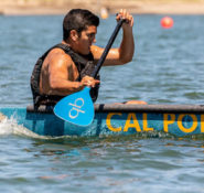 Mason Breipohl paddles Cal Poly SLO to one of five Race Day victories for the team. PHOTO: Cynthia Sinclair Photography